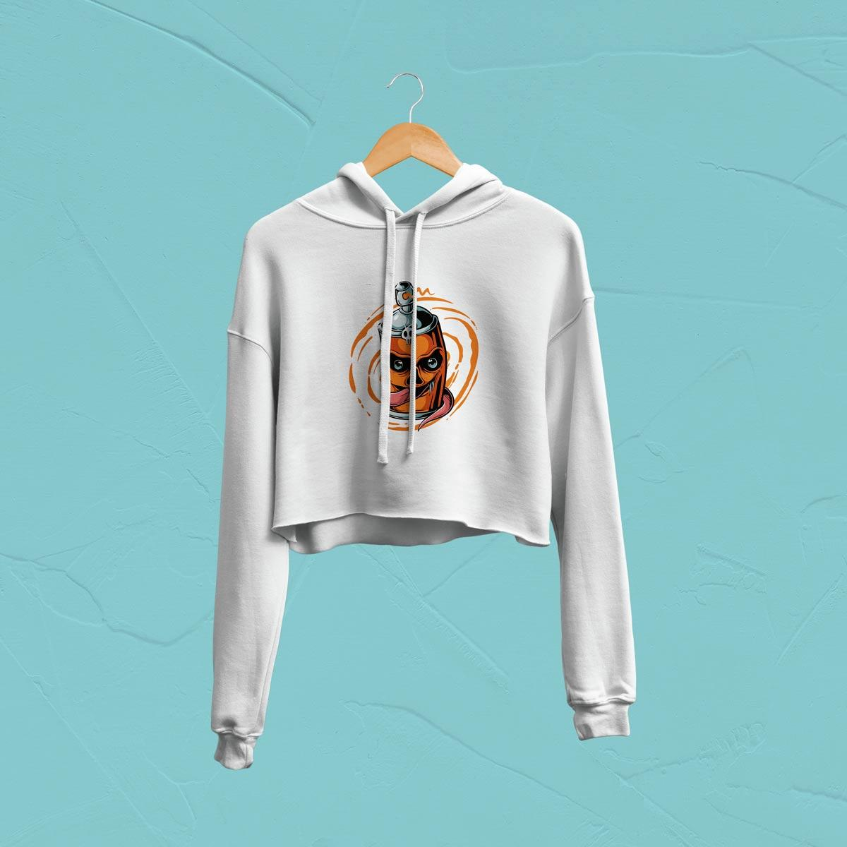 IMAGE-PRODUCT-SPRAY HOODED CROP-TOP